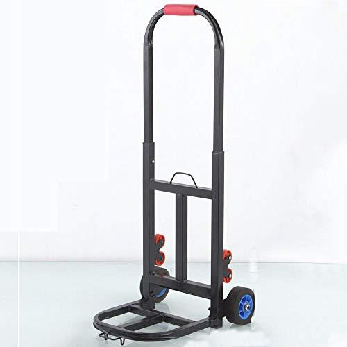 YAODFYL - Carro de acero multifuncional plegable con ruedas de goma antipinchazos y capacidad de 60 kg, para escalar escaleras de color negro para almacén industrial, hogar, oficina y aire libre