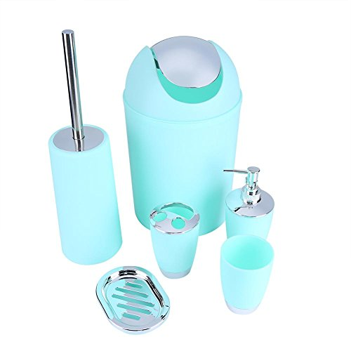 6 Pcs Plastic Bathroom Accessory Set Luxury Bath Accessories Bath Set Lotion Bottles, Toothbrush Holder, Tooth Mug, Soap Dish, Toilet Brush, Trash Can, Rubbish Bin,Blue