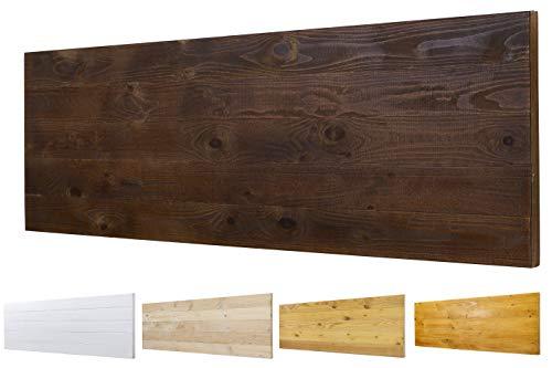 Cabecero Ancho 60cm de Madera Maciza Mod. Roma para Camas de 80cm, 90cm, 110cm, 135cm, 150cm. Herrajes incluidos (160cm X 60cm, Nogal)