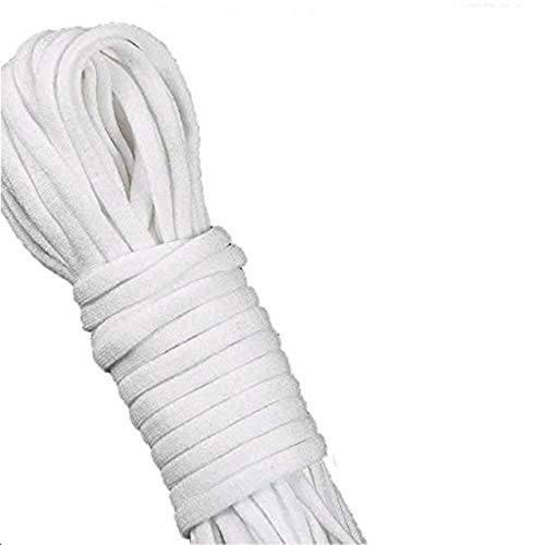 1/8 inch Elastic Bands for Sewing Stretch Cord Strap Braided Heavy Elastic String White for Knit Sewing Crafts DIY Ear Band Loop (White DIY Ear Band, 100 Yards