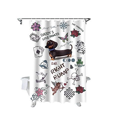 ZGDPBYF Cortina De Ducha Dachshund Flower Love Poker Compass Impermeable Cortina De Ducha Tela Tela Decoración De Baño con Ganchos - Cortina De Ducha