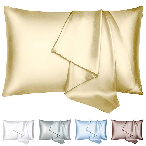 Zerohub 100% Pure Mulberry Silk Pillowcase for Hair and Skin, Both Sides 22 Momme Hypoallergenic Soft Breathable Nature Silk Pillow Case with Hidden Zipper, 1 Pack (Standard, Yellow)