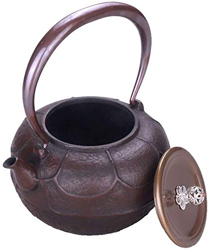 Household teapot, Retro Japanese Style Cast Iron Kettle Handmade Southern Ironware Iron Teapot with Copper Cover and Copper Handle Beam