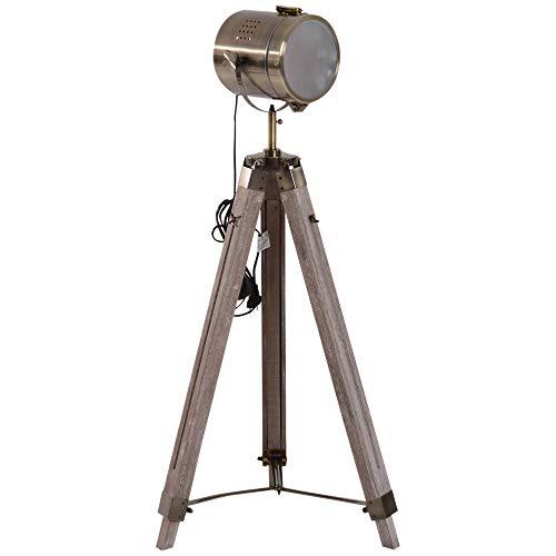HOMCOM Stehleuchte Standlampe Stehlampe höhenverstellbar 3-Bein E14 Kiefer Bronze L65 x B65 x H100-140 cm