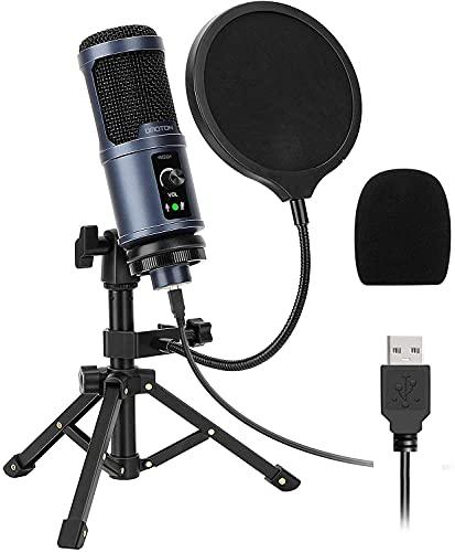 OMOTON Micrófono PC Condensador de USB [Super Reducción de Ruido], [192kHz / 24Bit] Micrófono para Grabar de Computadora para YouTube, Transmisión en Vivo, ASMR, Grabación de Juegos y Filtro POP