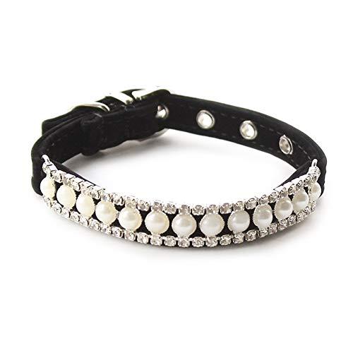 YANODA Strass Perlenkette Katze Hundehalsband Prinzessin Halsbänder for Hunde Katzen Haustier Führt Zubehör Hundeleine (Color : Black, Size : L)