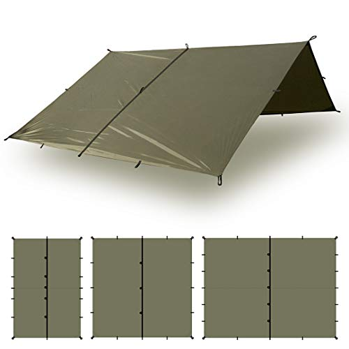 Aqua Quest Defender Tarp - 100% Waterproof Heavy Duty Nylon Bushcraft Survival Shelter - 10 x 7 ft Olive Drab