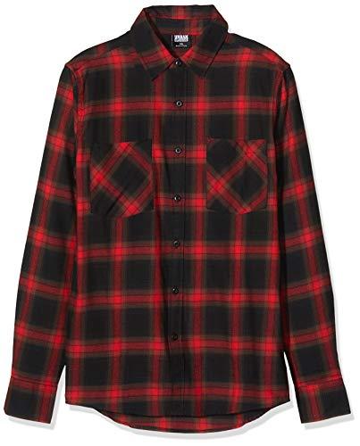 Urban Classics Herren Hemd Checked Flanell Shirt 6 Freizeithemd, Multicolour (Black/Red 02374), 4XL