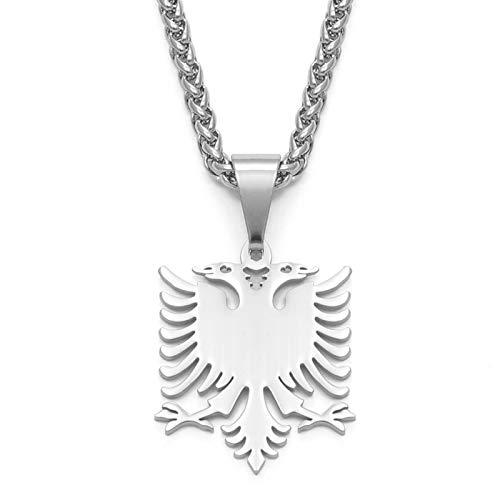 Albanien Adler Anhänger Halsketten Polieren Edelstahl Schmuck Ethnische Geschenke Für Frauen Männer