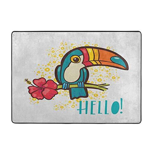Hello Area Rugs, A Tropical Hello from Hawaiian Island Ramphastidae Pájaro tucano con flor de hibisco, alfombra suave de 4 x 5 pies decoración del hogar
