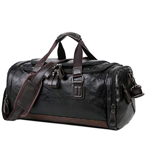 OCCIENTEC Pu Leather Sports Bag Luggage Duffle Holdalls Weekend Travel Overnight Bags for Men and Women (Black-20L)