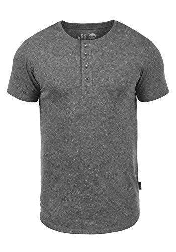 !Solid Thai Herren T-Shirt Kurzarm Shirt Mit Grandad-Ausschnitt, Größe:XXL, Farbe:Black (9000)