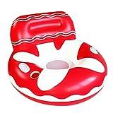 Sayiant Sofá de agua inflable respetuoso con el medio ambiente para adultos, línea flotante, flotador hinchable con respaldo y soporte para bebidas, sofá de 105 x 70 cm