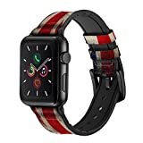 CA0489 Vintage British Flag Leather & Silicone Smart Watch Band Strap for Apple Watch iWatch Size 38mm/40mm