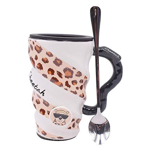 vientiane Kaffeetassen, Kaffeebecher mit Leopard Muster Keramik Tasse mit Deckel und Anti Rutsch Wärmedämmung Filz Boden Große Kapazität für Zuhause Oder im Büro