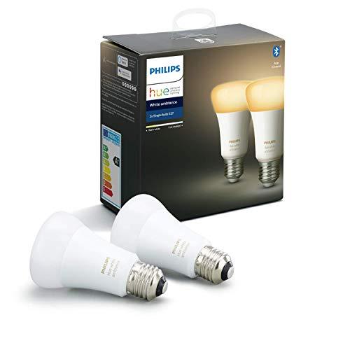 """Philips Hue White Ambiance E27 LED Lampe Doppelpack,dimmbar, alle Weißschattierungen, steuerbar via App, kompatibel mit Amazon Alexa (Echo, Echo Dot), Gerät """"Zertifiziert für Menschen"""""""
