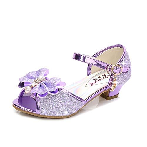 Youpin Zapatos de piel para niñas de princesa con purpurina, estilo casual, con purpurina, para niños, de tacón alto, con nudo de mariposa, azul, rosa, plata (color: B morado, talla de zapato: 36)