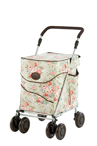 Sholley Deluxe Foldable Shopping Trolley 'Pale Floral', Grocery Cart, Strong & Stable, Aids Mobility, Height & Angle Adjustable Handle, 4 wheels, 6 wheels, Easy to Push, Ladies, Mens & Unisex Designs