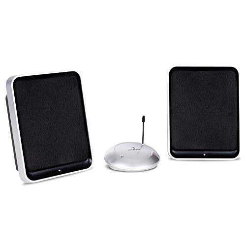 auna Loft 30 - Funk-Lautsprecher, Wireless Speaker, bis zu 100 Meter Übertragungsreichweite, 2-Wege-Lautsprecher, 2 Sender, Netz- und Batteriebetrieb, ausklappbare Standfüße, schwarz