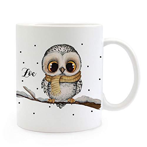 ilka parey wandtattoo-welt Tasse Becher Eule Eulchen auf AST Zweig Motiv mit Wunschname Name individuell Kaffeebecher Kaffeetasse Geschenk ts1171 - ausgewählte Größe: *03. Kaffeetasse*