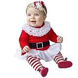 WEXCV Baby Mädchen Weihnachtskleid Herbst Baby Kinder Kleinkind Mesh Freizeit Kleid Langarm A-Linie Kleider T-Shirt Kleid Cartoon Muster Partykleider + Hosen + Haarband Kleidung Set 0-24 Monate