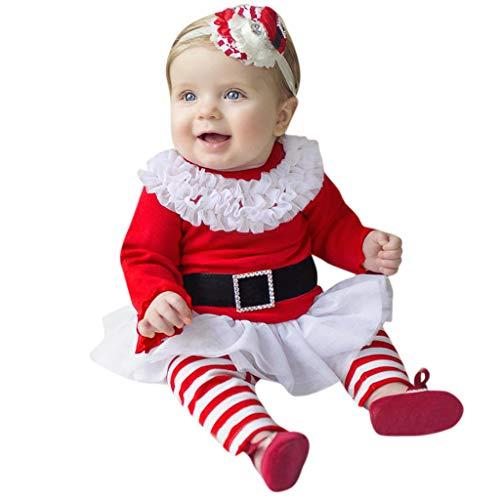 FRAUIT Completo Bambina Neonata Babbo Natale Pantaloni+Magliette Neonato Manica Lunga+Fascia per Capelli Neonati Battesimo Costume Carnevale Bimba Principessa Abito Cerimonia Vestiti