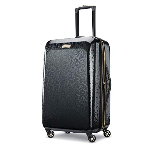 American Tourister Belle Voyage Hardside Luggage with Spinner Wheels, Black, Checked-Medium 25-Inch