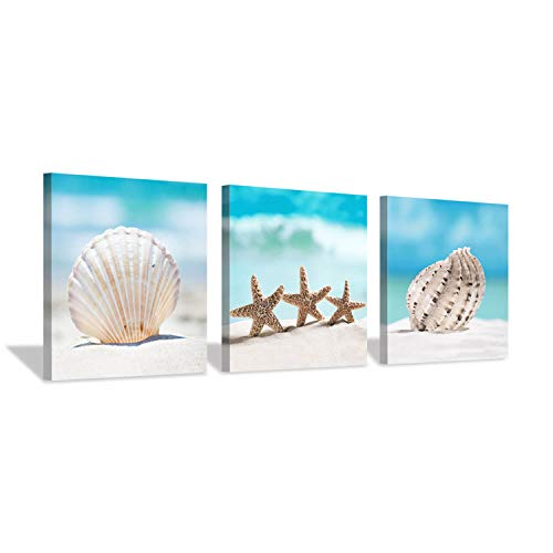 Starfish & Seashells Canvas Wall Art: Blue Beach Theme Sand Artwork Painting for Kid's Room (12''x12''x3pcs)