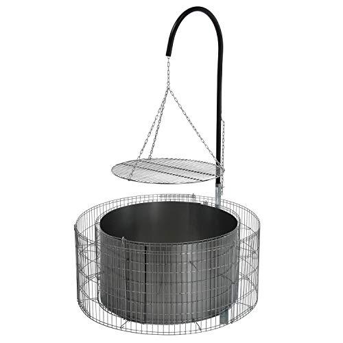 bellissa Feuer- und Grillstelle aus Gabionen - 95580 - Feuerstelle inkl. Grillrost, Grillgalgen und Ketten - Durchmesser 92/72 cm, Höhe 40 cm