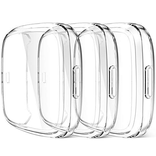 Maledan Compatible with Fitbit Versa 2 Screen Protector Case, 3 Pack Clear Ultra Thin Full Protective Case Cover Scratch Resistant Shock Absorbing for Versa 2 Smartwatch Bands Accessories