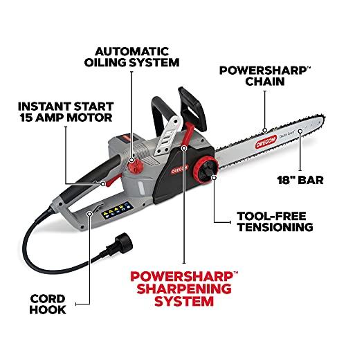 OREGON 603352 CS1500 Self-Sharpening Corded Electric Chainsaw, Grey, Black