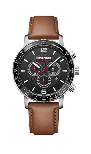 Wenger Men's Sport Stainless Steel Swiss-Quartz Watch with Leather Strap, Brown, 22 (Model: 01.1843.104)