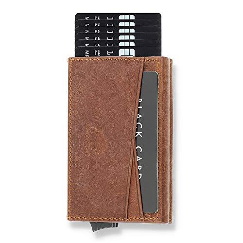 Solo Pelle Kartenetui mit RFID Schutz bis 11 Karten Portmonee Geldbeutel Kreditkartenetui für den Alltag Mech Echtes Leder in Vintage Braun NEUWARE (gebrauchtes Aussehen)