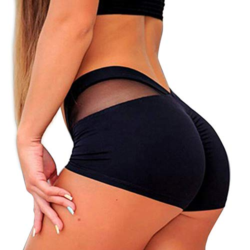 Dastrues Women Short Leggings Mesh Splice Slim Fit Quick Dry Yoga Hot Shorts for Fitness