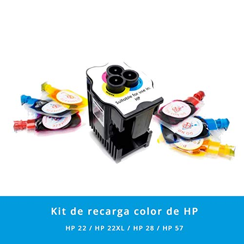Kit de Recarga para Impresoras HP 22 / 22XL / 28/57 · Incluye 1 Estación de Recarga + 6 Recargas de Color (2 Cyan x 6 ml) (2 Magenta x 6 ml) (2 Amarillo x 6 ml)