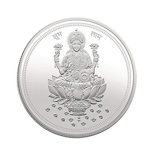 Modison BIS Hallmarked 999 Purity 10 g Silver Laxmi Ji Coin with Card Packing or Dhanteras Diwali and for Any Auspicious Occasion