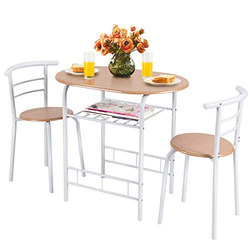 Giantex 3 Piece Dining Set Compact 2 Chairs and Table Set with Metal Frame and Shelf Storage Bistro Pub Breakfast Space Saving for Apartment and Kitchen (White & Natural)