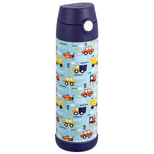 Snug Flask for Kids (500ml) - Vacuum Insulated Water Bottle with Straw (Vroom)