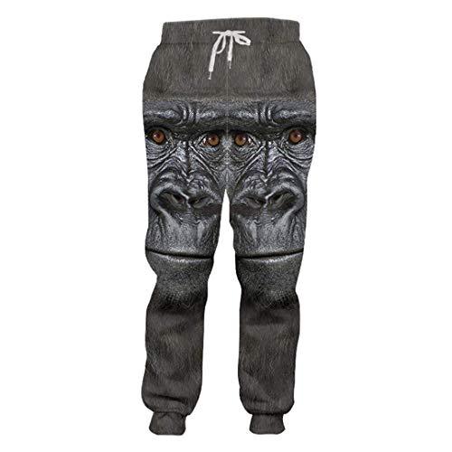Otoño Animal Hombre Pantalones Deportivos 3D Impreso Orangután Patrón Pantalones creativos