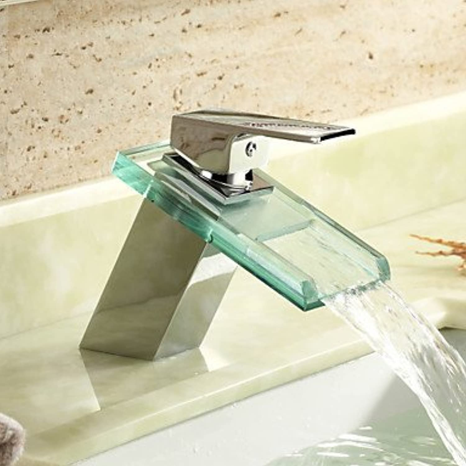 GDS Faucet£? Contemporary waterfall single hole single lever chrome bathroom sink faucet