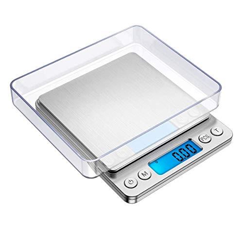 Fransande Báscula de bolsillo de acero inoxidable, Báscula de cocina 2000 g / 0,1 g, Báscula para joyas, con pantalla LCD, pilas incluidas