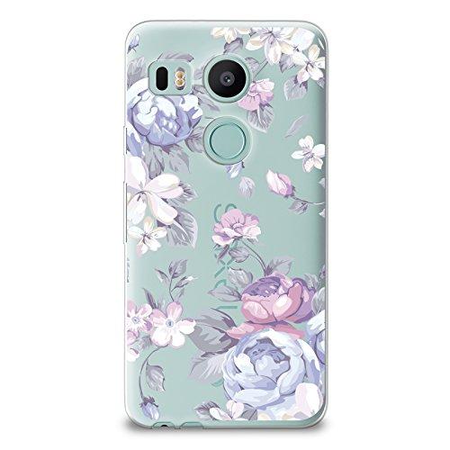 CasesByLorraine Nexus 5X Soft Case, Purple Flowers Case Floral Pattern TPU Soft Gel Protective Cover for LG Google Nexus 5X (I33)