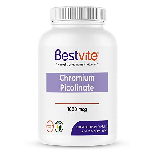 Chromium Picolinate 1000mcg (240 Vegetarian Capsules) - No Stearates - No Dicalcium Phosphate - Vegan - Gluten Free - Non-GMO