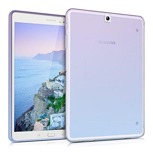 kwmobile Cover Compatibile con Samsung Galaxy Tab S2 9.7 - Custodia Cover Tablet in Silicone TPU - Copertina Protettiva Tab - Backcover - 2 Colori Viola Blu Trasparente