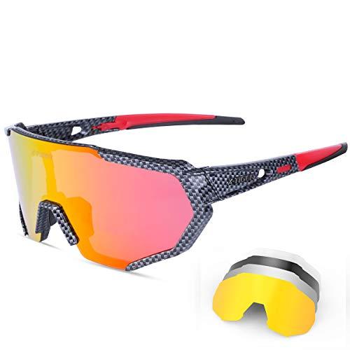 X-TIGER Gafas Ciclismo CE Certificación Polarizadas con 5 Lentes Intercambiables UV 400 Gafas,Corriendo,Moto MTB Bicicleta Montaña,Camping y Actividades al aire libre Hombres y Mujeres Impresión TR-90 ✅