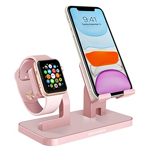 Apple Watch Stand, Cell Phone Stand, iPhone XS Max XS X XR 8 7 Plus Stand, BENTOBEN NightStand Mode iWatch Stand iPhone Dock iPad Mini Charging Station for iWatch Series 3 2 1 38mm 42mm - Rose Gold