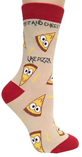 'Hot & Cheesy, Like Pizza' Anydaze Women's Crew Socks, Combed Cotton & smooth toe
