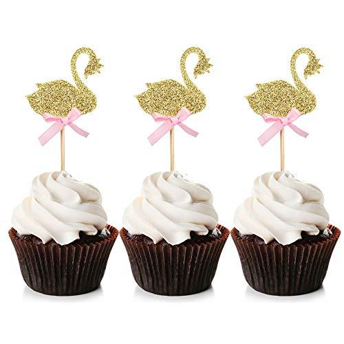 24 Stück Schwan Cupcake Topper Glitzer Cupcake Picks mit blauer Schleife Babyparty Geburtstag Party Dekoration S rose