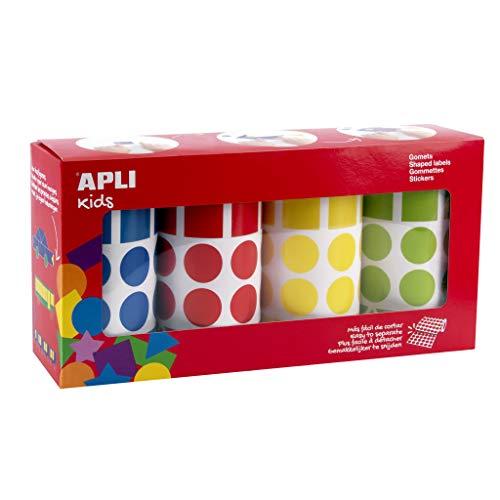 APLI Kids 18804 - Pack de 8260 gomets en 4 rollos (azul, rojo, amarillo y verde) con formas geométricas surtidas (círculos, cuadrados, rectángulos y triángulos) de 20 mm, adhesivo permanente.