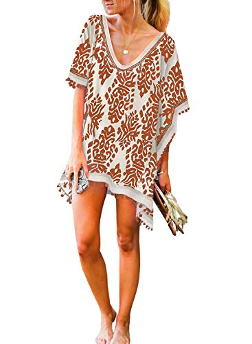 HOTAPEI Women's V Neck Printed Swim Suit Cover Ups Tassel Bikini Bathing Suit Beach Dress for Swimwear Orange Size Small